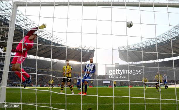 Rune Jarstein of Berlin looks for the ball during the Bundesliga match between Hertha BSC and Borussia Dortmund at Olympiastadion on March 11 2017 in...