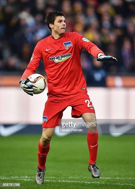 Rune Jarstein of Berlin looks on during the Bundesliga match bewteen Hertha BSC and Borussia Dortmund at Olympiastadion on February 6 2016 in Berlin...