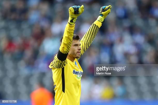 Rune Jarstein of Hertha BSC Berlin celebrates after the Bundesliga match between Hertha BSC and VfB Stuttgart at Olympiastadion on August 19 2017 in...