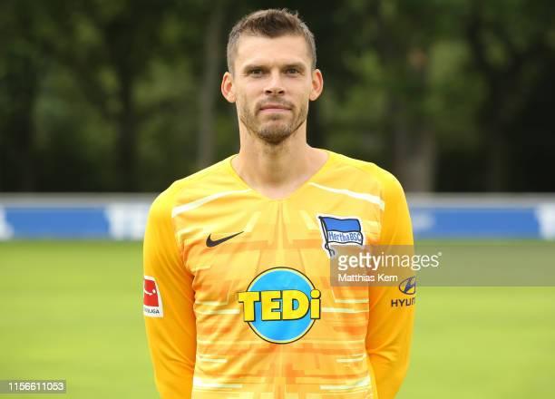 Rune Jarstein of Hertha BSC poses during the team presentation at Schenckendorffplatz on July 19 2019 in Berlin Germany