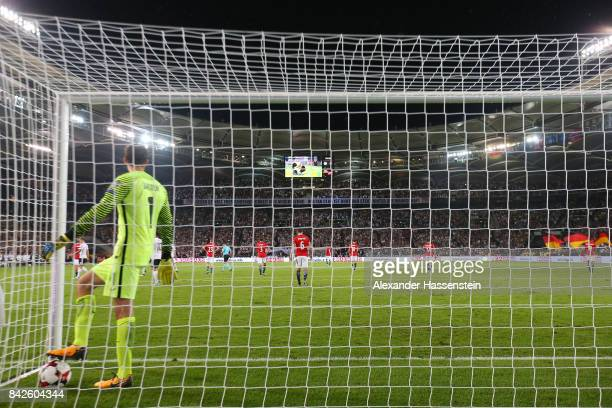 Rune Jarstein of Norway gets the ball after Timo Werner scored to make it 40 during the FIFA 2018 World Cup Qualifier between Germany and Norway at...