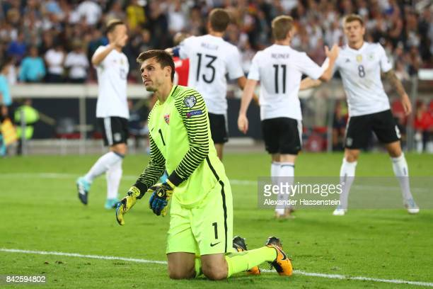 Rune Jarstein of Norway looks dejected after Timo Werner of Germany scored to make it 30 for Germany during the FIFA 2018 World Cup Qualifier between...