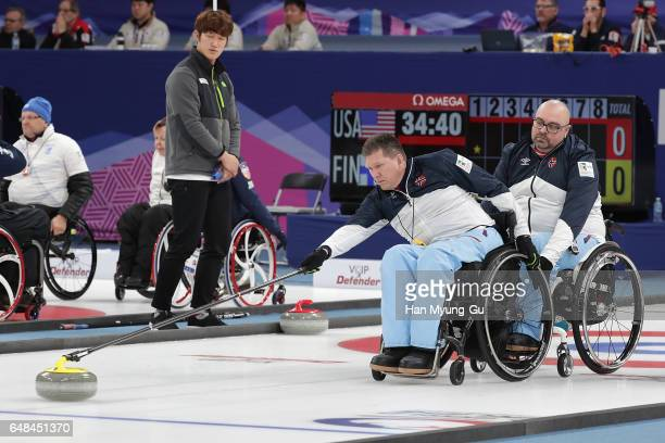 Rune Lorentsen from Norway delivers a stone during the World Wheelchair Curling Championship 2017 test event for PyeongChang 2018 Winter Olympic...