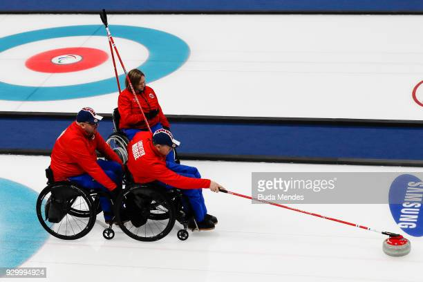 Rune Lorentsen of Norway competes in the Wheelchair Curling Round Robin Session 01 during day one of the PyeongChang 2018 Paralympic Games at...