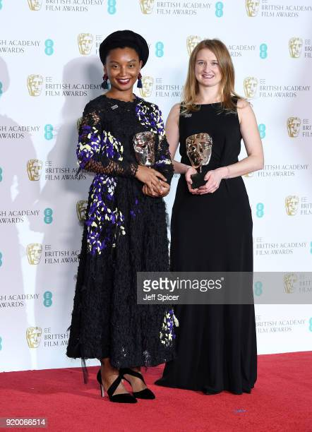 Rungano Nyoni and Emily Morgan winners of the Outstanding Debut by a British Writer Director or Producer for the movie 'I Am Not A Whitch' pose in...