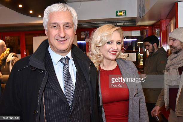 Rungis market CEO Stephane Layani and Monika Ekiert attend the 'Polish Hope' Short Movie Screening Party at Cinema Grand Action on January 19 2016 in...