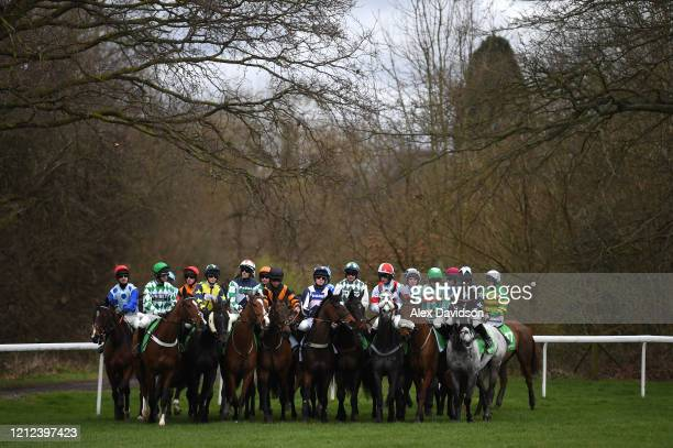 Runneers wait at the start of the Paddy Power Silver Plater Handicap Hurdle Race on Silver Cups Day at Kempton Park on March 14, 2020 in Sunbury,...