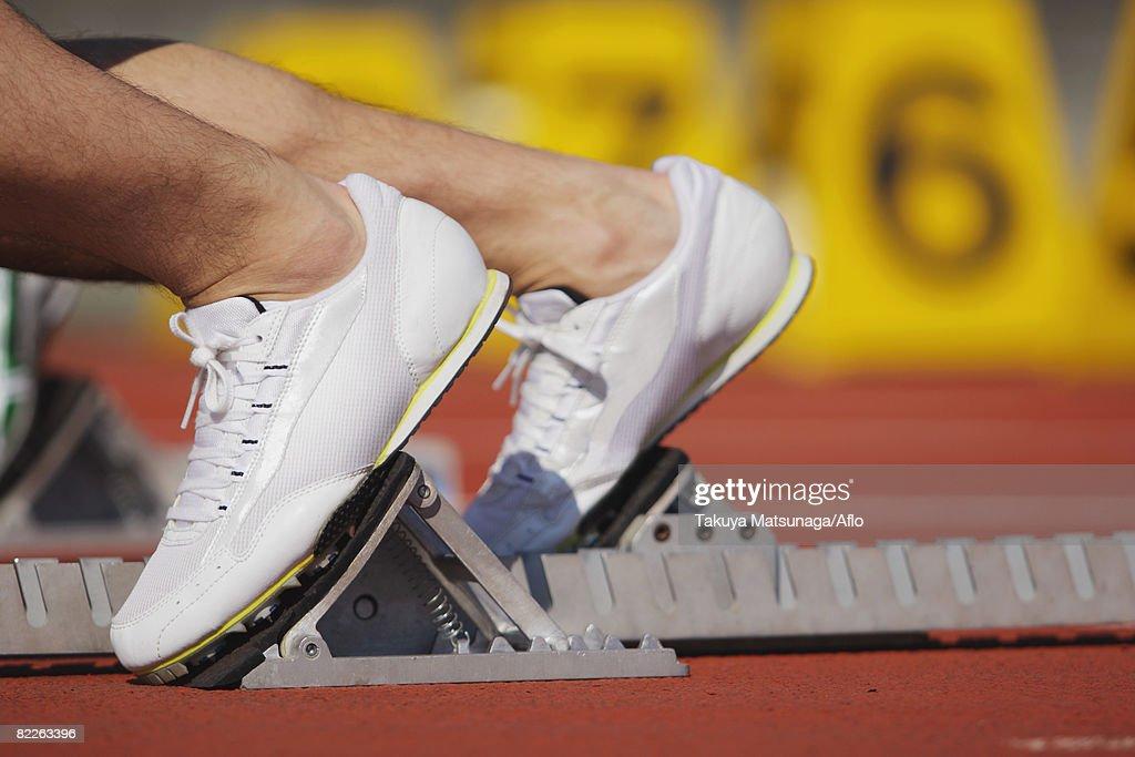 Runner at Starting Line : Stock Photo