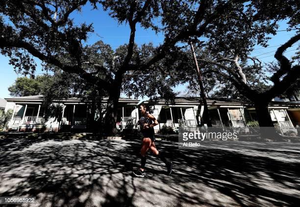A runner competes during the Humana Rock 'n' Roll Savannah Marathon 1/2 Marathon on November 3 2018 in Savannah United States
