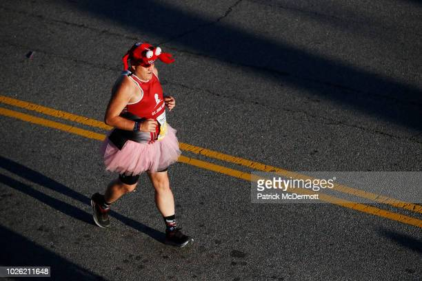 Runner competes in the 2018 Humana Rock 'n' Roll Virginia Beach half marathon on September 2, 2018 in Virginia Beach, Virginia.