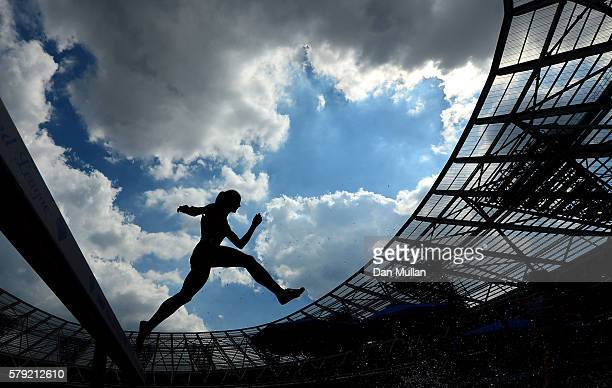 A runner competes in the Women's 3000m Steeplechase during Day Two of the Muller Anniversary Games at The Stadium Queen Elizabeth Olympic Park on...