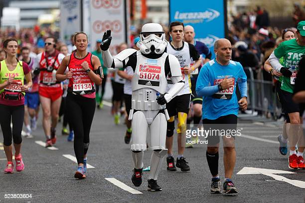 A runner dress as a Stormtrooper from the movie Star Wars during the Virgin Money London Marathon on April 24 2016 in London England