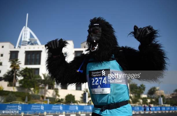 Runner dressed as a gorilla competes in Standard Chartered Dubai Marathon on January 26 2018 in Dubai United Arab Emirates