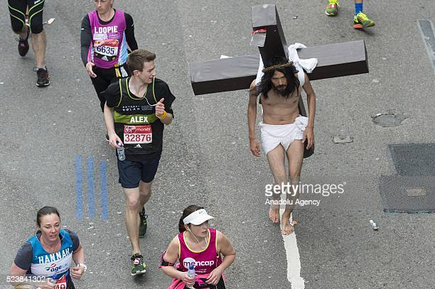 A runner dressed as Jesus at the 2016 London Marathon in London United Kingdom on April 24 2016