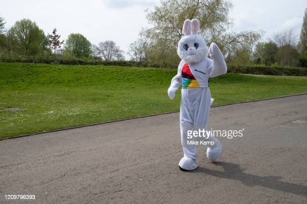 Runner dressed up as the Easter Bunny out exercising responsibly and applying social distancing in Canon Hill Park as Coronavirus is felt on a local...