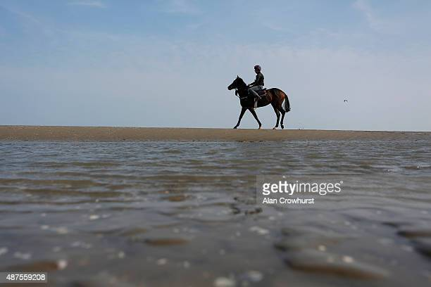 A runner exercises on the beach before racing at Laytown racecourse on September 10 2015 in Laytown Ireland