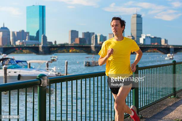 Runner in front of Boston's Skyline