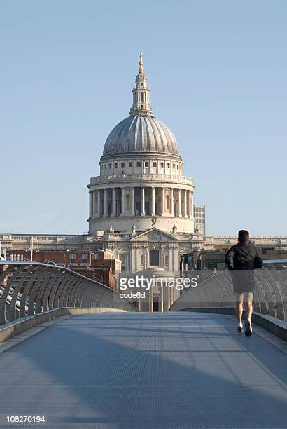 Runner in London, St. Paul's Cathedral, copy space (workout concept)