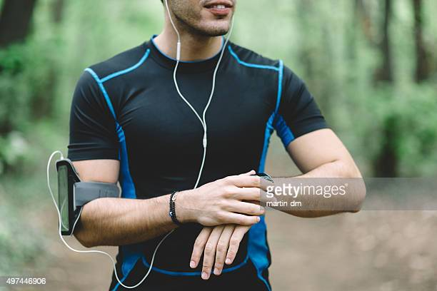Runner in the park ready for workout