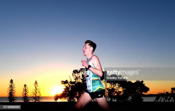 A runner is seen competing during the Sunshine Coast Half Marathon on August 19 2018 in Sunshine Coast Australia