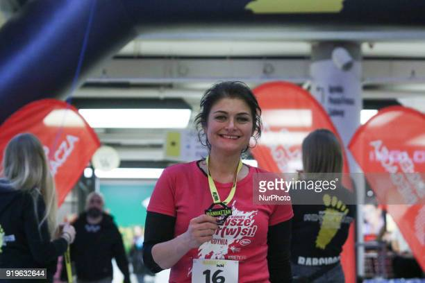 Runner is seen in Gdansk Poland on 17 February 2018 Runners take part in the Manhattan Run run competition inside the Manhattan shopping centre in...