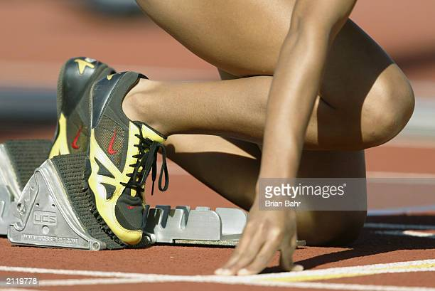 Runner is set in the blocks for the women's 400m hurdles prelims during the USA Outdoor Track and Field Championships on June 19, 2003 at Cobb Track...