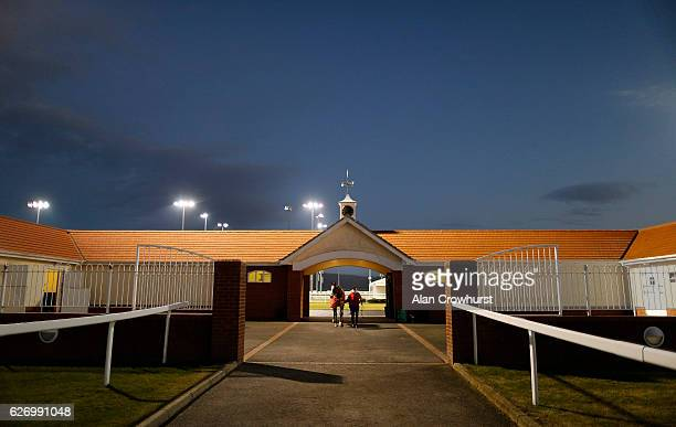 A runner leaves the parade ring and makes its way back to the stables at Chelmsford racecourse on December 01 2016 in Chelmsford England