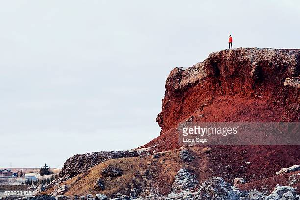 A runner looks across a beautiful red rocky vista