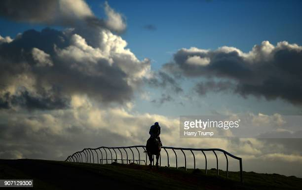 A runner makes its way to the start prior to the Download The App at 188Bet Handicap Steeple Chase at Chepstow Racecourse on January 19 2018 in...