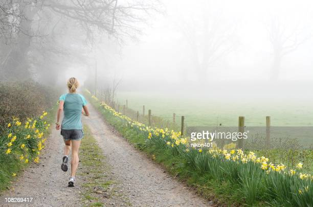 runner on foggy road - daffodils stock photos and pictures