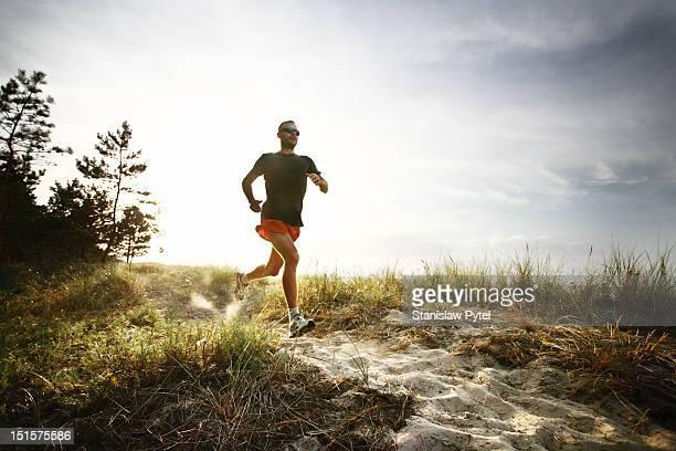 Runner on track at morning