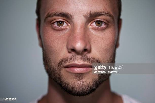 Runner Oscar Pistorius is photographed for Men's Health Magazine on February 21, 2012 in Pretoria, South Africa.