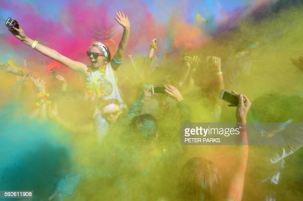 TOPSHOT A runner participates in the annual Color Run in Centennial Park in Sydney on August 21 2016 The Color Run is a 5km fun run started in the US...