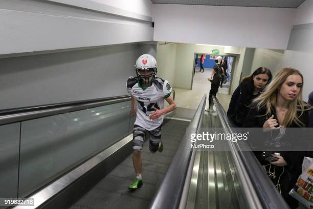 Runner running on escalator is seen in Gdansk Poland on 17 February 2018 Runners take part in the Manhattan Run run competition inside the Manhattan...