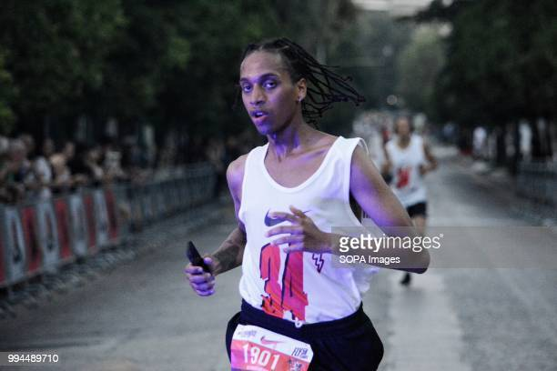 A runner seen finishing the road race A five kilometer road race aimed at strengthening structures and supporting vulnerable social groups it was...