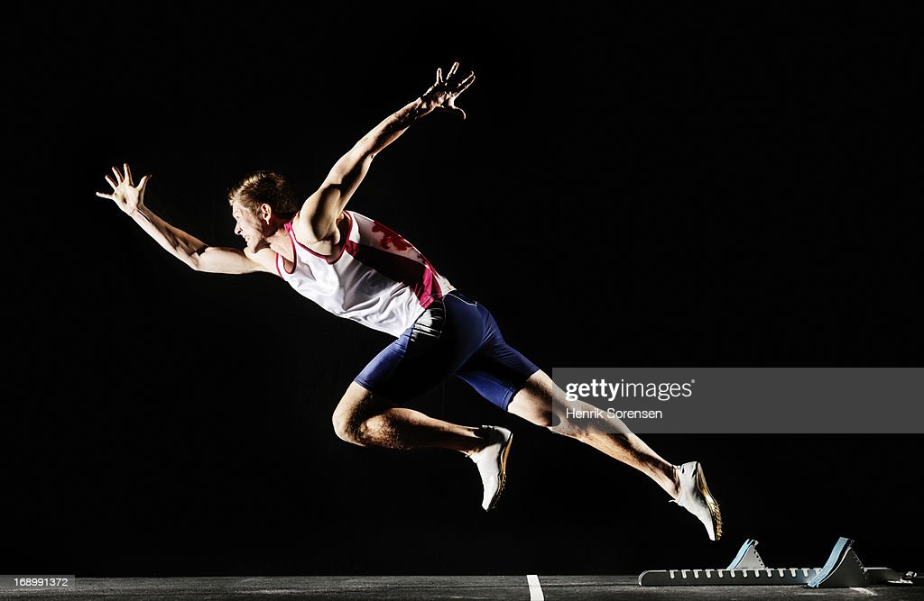 Runner starts a race : Stock Photo