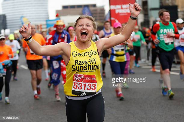 A runner supporting Rays of Sunshine Children's Charity during the Virgin Money London Marathon on April 24 2016 in London England