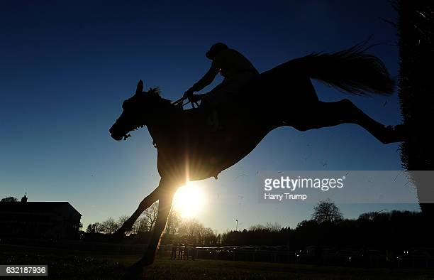 A runner takes a flight at Chepstow Racecourse on January 20 2017 in Chepstow Wales