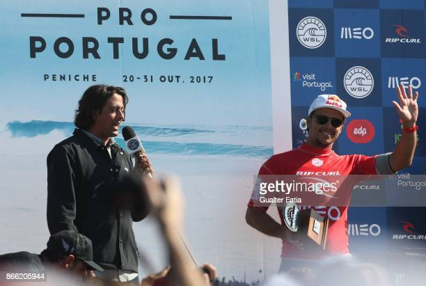 Runner up Julian Wilson from Australia celebrates with trophy at the end of the Meo Rip Curl Pro Portugal 2017 at Supertubos beach on October 25 2017...