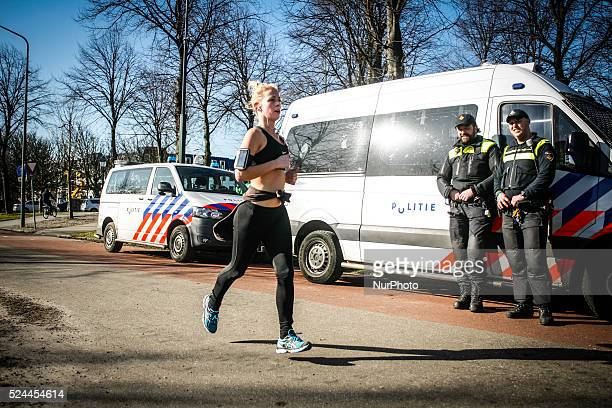 A runner with bare arms is seen on 18th February 2015 in The Hague Netherlands Temperatures this winter have been significantly above the historic...