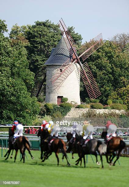 Runners about to pass the windmill in The Qatar Prix Du Cadran at the Hippodrome de Longchamp on October 03 2010 in Paris France