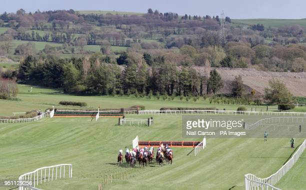 Runners and riders approach the back straight in the Adare Manor Opportunity Series Final Handicap Hurdle during day two of the Punchestown Festival...