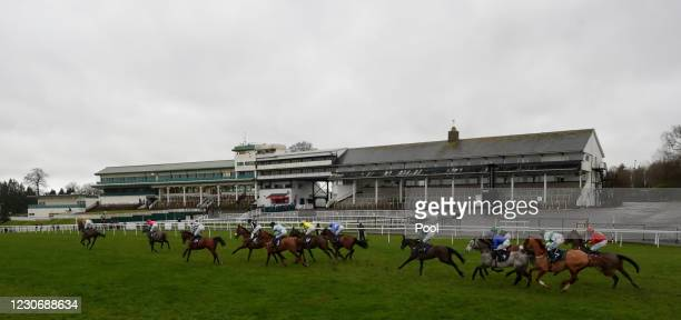 Runners and riders at the start of the Providers Of Man Power Silvershine Novices' Hurdle at Chepstow Racecourse on January 20, 2021 in Chepstow,...