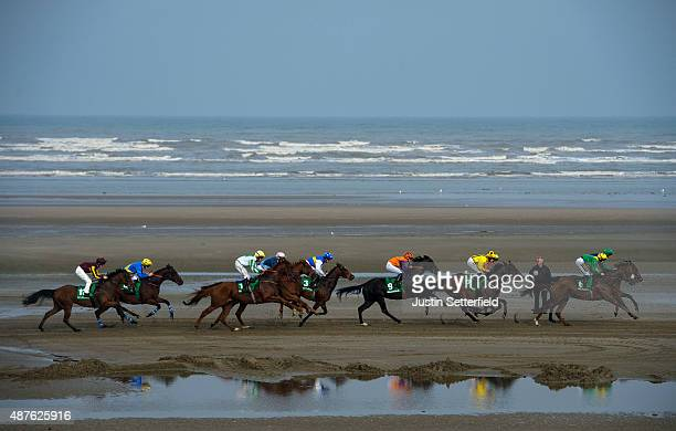Runners and riders compete at the Laytown races during the one day annual meet on September 10 2015 in Meath Ireland Laytown races held once a year...
