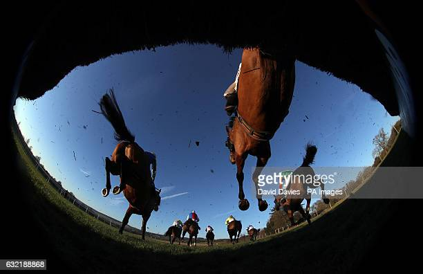 Runners and riders compete in the 188betcouk Handicap Chase at Chepstow Racecourse
