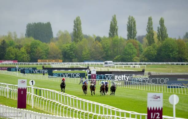 Runners and riders during The BetVictor Conditions Stakes during Al Shaqab Lockinge Day at Newbury Racecourse on May 15, 2021 in Newbury, England.