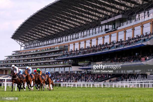 Runners and riders during the Longines Sagaro Stake at Ascot Racecourse on May 01 2019 in Ascot England