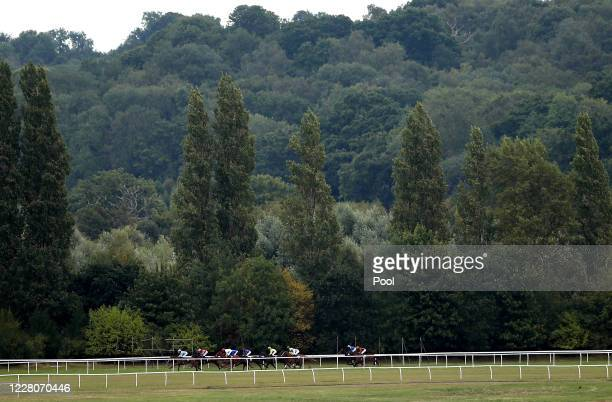 Runners and riders during the Super Boosts From Unibet Novice Stakes race at Newbury Racecourse on August 16 2020 in Newbury England