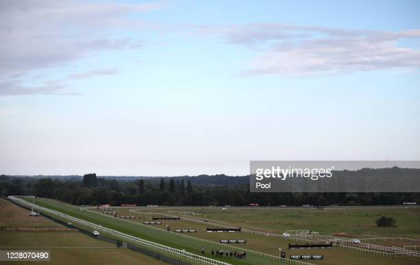Runners and riders during the Unibet New Instant Roulette Apprentice Handicap race at Newbury Racecourse on August 16, 2020 in Newbury, England.