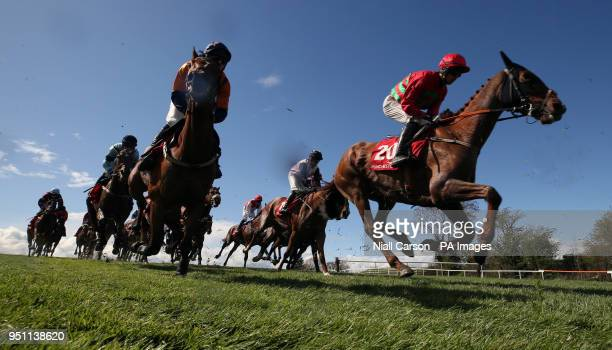 Runners and riders in the Adare Manor Opportunity Series Final Handicap Hurdle during day two of the Punchestown Festival 2018 at Punchestown...